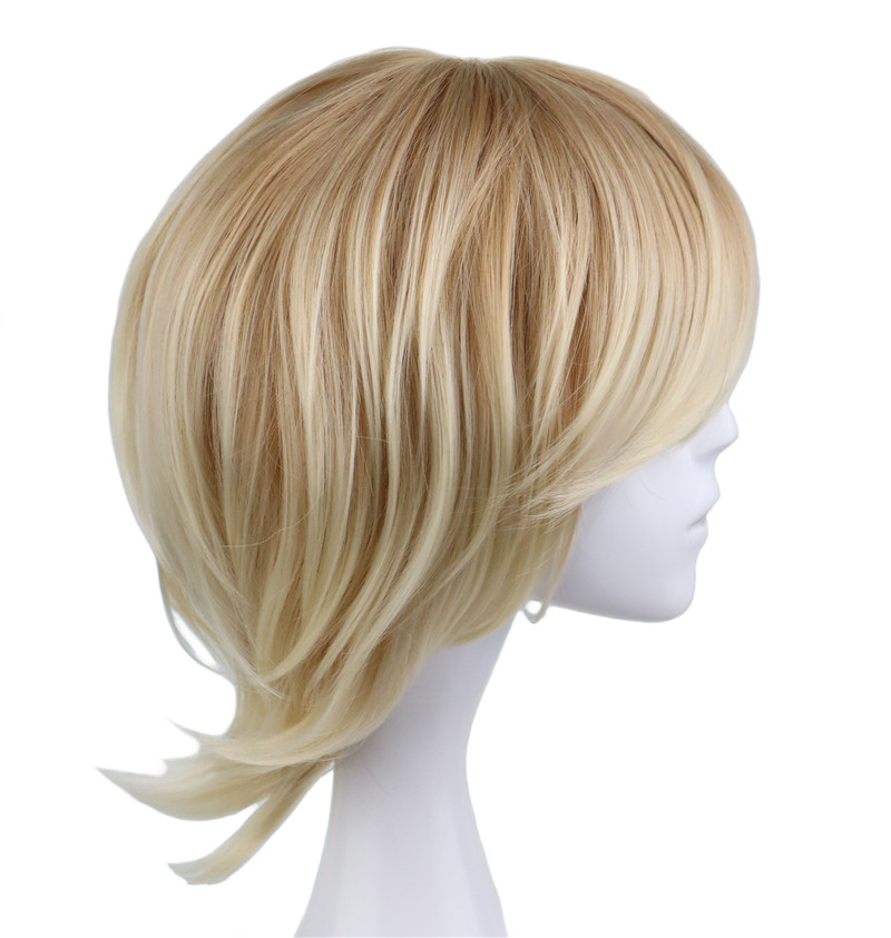 QQXCAIW Short Curly Men Male Cosplay Blonde 35 Cm Synthetic Hair Wigs