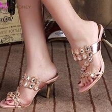 Sommer Strass Hausschuhe Gold Rosa Hochzeit Schuhe Mode Frauen High Heel Sandalen Sparkling Prom Schuhe Plus größe 41-43