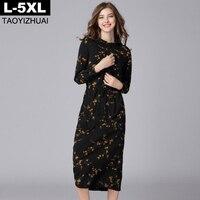 Fashion Print Chiffon Dress Spring Ladies Adjustable Waist Long Sleeve Loose Big Size Straight Dresses 5XL