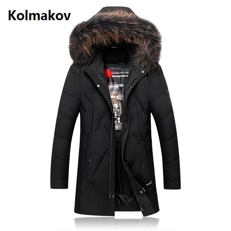 KOLMAKOV 2017 winter Mens fashion casual hooded Fox collars White duck down down jacket Parkas Mens Winter jackets, men coats