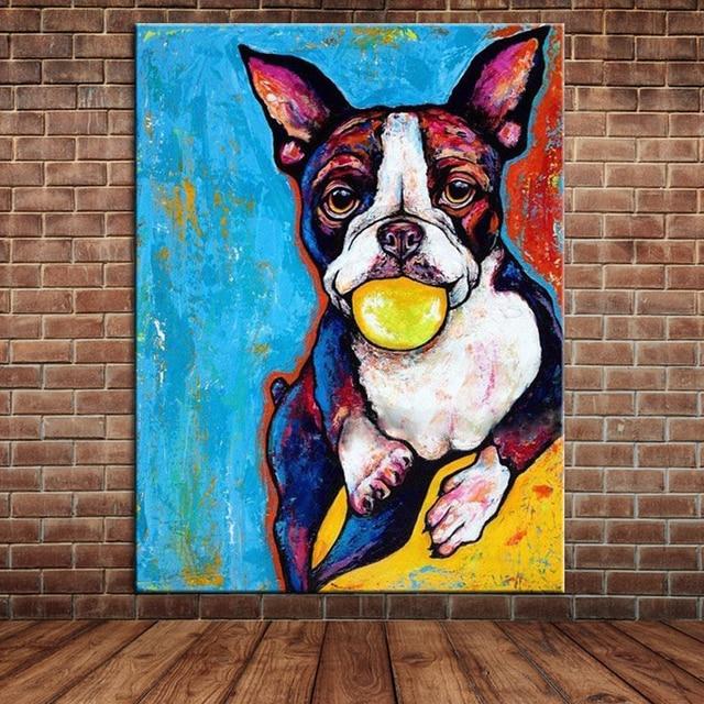 Lindo Cachorro de Perro Retrato Pintura Al Óleo Animal Moderna ...