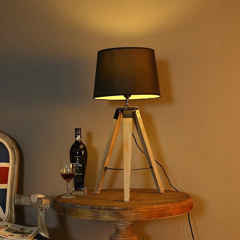 Vintage Kreative Holztisch Lampe Stoff Lampenschirm Fr Schlafzimmer Nacht Wohnzimmer E27 90 265