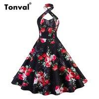 Tonval Halter Criss Cross Floral Print Sexy Dress Women High Waist Vintage 1950S Party Dress Red