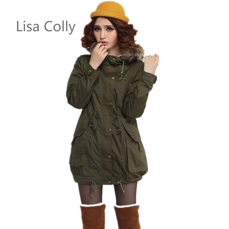 a1201235d2150 Lisa Colly Kadın Kış Ceket ceket Kadınlar Kalınlaşmak Sıcak Kış Kürk Yaka  Parkas Kadınlar için Uzun Aşağı Parka ordu yeşil
