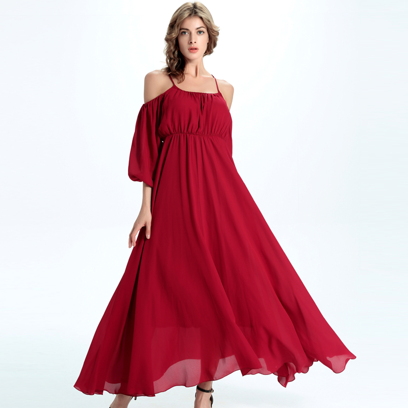 Women Red Off the Shoulder Spagehtii Strap Half Sleeve A Line Long Maxi  Dress Casual Chiffon Beach Dress b9e04baf61