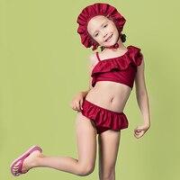 Designer Brand 2 12 years 3pcs Ruffles Swimsuit Girls kids Off shoulder Children baby swimsuit summer bikini set