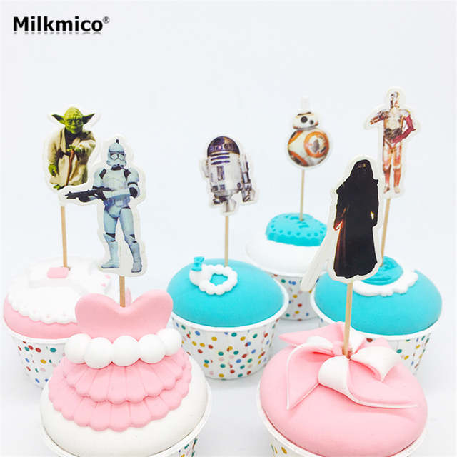 Fabulous Online Shop Milkmico 24Pcs Star Wars Cupcake Toppers Lovely Funny Birthday Cards Online Bapapcheapnameinfo