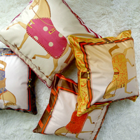 Luxury Gold New Fashion Horse High Quality Silk Printed Cushion Cover Pillow Cover Pillowcase Home Decorative Sofa Throw Pillows