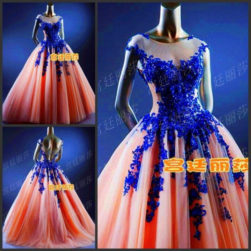 Cap manches bleu royal dentelle appliques rose tulle longue De Bal robes robe de bal 2015 new hot robes sexy dos nu perles mariages