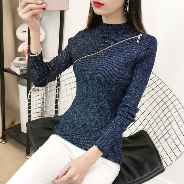 MISS Feb Plum Zipper Bright Silk Pullover 2018 Women Autumn Winter Long  Sleeve f8a7d06de