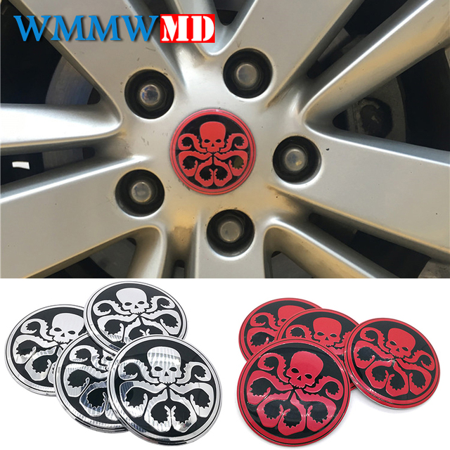 4pcs lot 56mm hydra skull aluminum sticker car steering tire wheel center car sticker hub