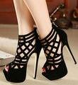 2015 venda Quente Moda Sexy 16 cm sapatos de salto Alto estilo Roma Cruz Sandálias cinta mulheres Flock Nudez cor Clube Festa de Casamento sapatos mulheres