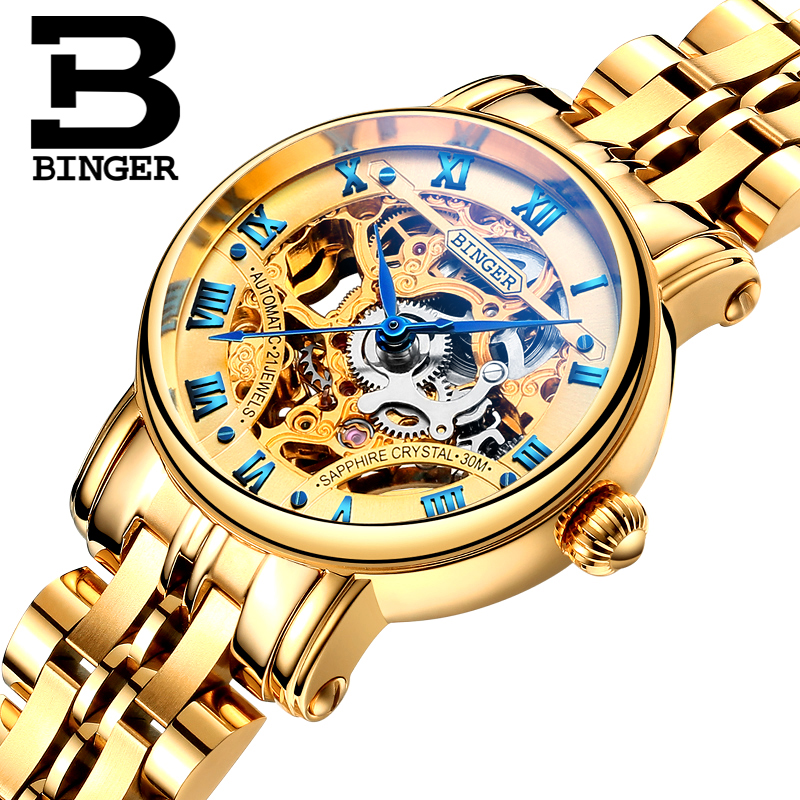 Switzerland luxury women watches BINGER brand Hollow Out Mechanical  Wristwatches sapphire full stainless steel B-5066L3