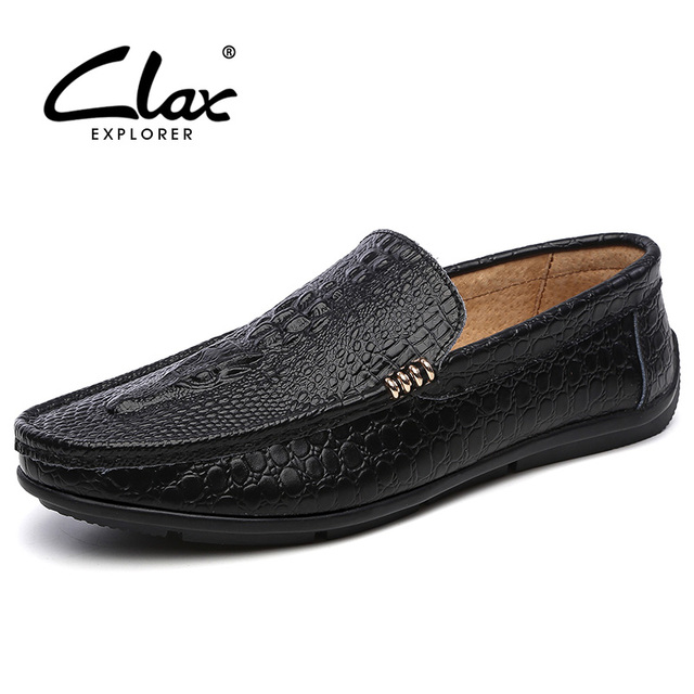 Clax Alligator Shoes Mens Summer Men's Leather Loafers with Crocodile Skin Printing Designer Flat Male Moccasins Boat Shoe