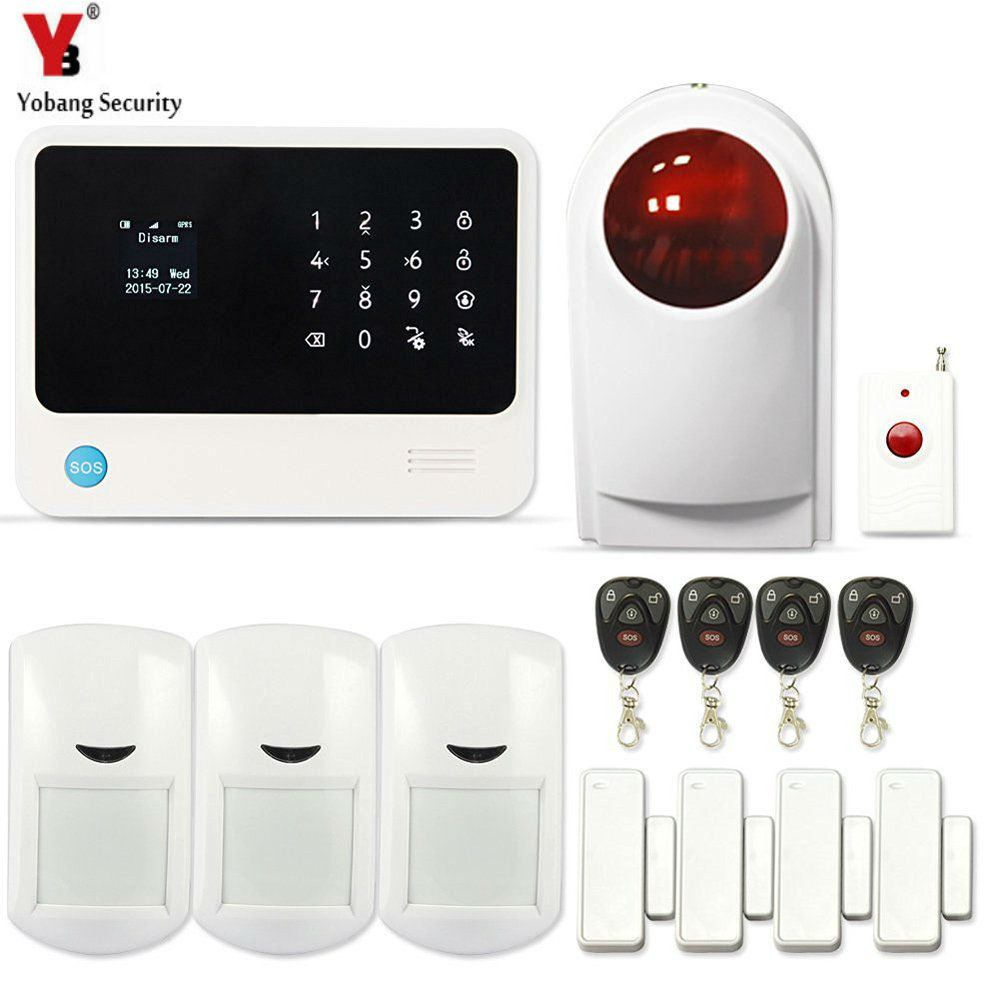 YobangSecurity WIFI Alarm System Wireless Flash Siren GSM Burglar Alarm G90B Touch Keypad APP PIR Detector Door Gap Sensor yobangsecurity gsm wifi burglar alarm system security home android ios app control wired siren pir door alarm sensor