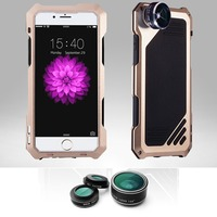 3 in 1 Lentes 198 fisheye 0.63x wide angle 15x macro Lens camera with case of the impact resistant screen guard For iphone 6 6s