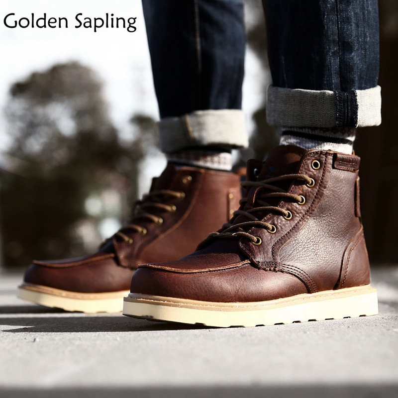 Golden Sapling Men's Tactical Boots Outdoor Men's Sneakers Breathable Genuine Leather Waterproof Hiking Shoes Men Trekking Boots men winter boots plush warm hiking boots outdoor tactical trekking shoes men genuine leather waterproof ankle boots men sneakers