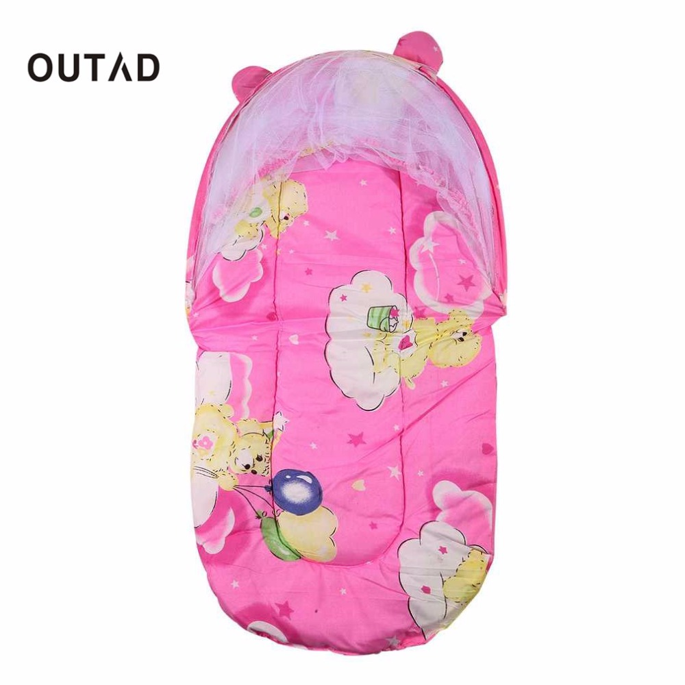 OUTADFoldable New Baby Cotton Padded Mattress Infant Pillow Bed Mosquito Net Tent Stand Kid Baby Bed Accessories Hung Dome Floor
