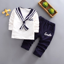 DIIMUU Toddler Baby Boys Girls Clothing Long Sleeve Navy Pullovers Tops Solid Pants Outfits Chorus Costume Fashion Cotton Clothe