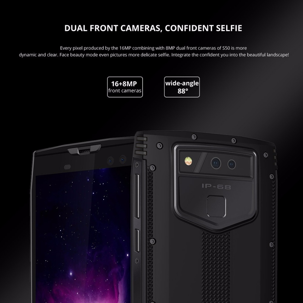 DOOGEE S50 IP68 Waterproof Smartphone 5.7 18:9 6GB 128GB MTK6763 Octa Core android 7.1 5180mAh 4 Cameras 16.0MP Rugged Phones