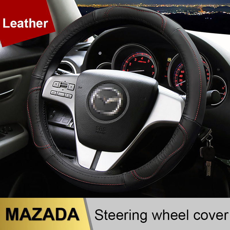 Leather Car Steering Wheel Cover Case For <font><b>Mazda</b></font> 2 3 <font><b>Mazda</b></font> 6 Axela Atenza CX-3 CX-5 <font><b>CX5</b></font> CX-7 CX-9 2015 2016 2017 2018 <font><b>Accessories</b></font> image