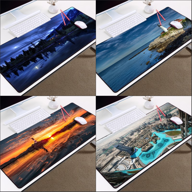 Mairuige Aerial View of City and Beacon of The Sea Mousepad Sight of The Night Beautiful Scenery Mousepad As Gift for Friends