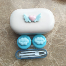 LIUSVENTINA 2018 New DIY Resin Cute Flying Love Cloud Hand-Made Contact Lens Case Box Container for Color Lenses Gift for Girls(China)