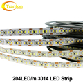 LED Strip 3014 204 LED/meter DC12V Waterproof White / Warm White Super Bright Flexible LED Light 5m/lot