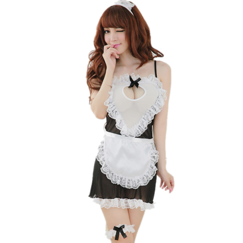 Sexy Sleepwear black women Sexy Lingerie hot Dress+G-STRING Super sexy Underwear Uniform Kimono sexy maid Costume