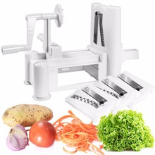 Goplus Tri-blade Plastic Spiral Vegetable Slicer Spiralizer Cutter Kitchen Carrot Grater Onion Vegetable Slicer New KC38374