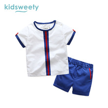 Kidsweety Boys Suits Cotton O-Neck Pullover Short Sleeve T-Shirt Shorts Twinset Patchwork Print Homewear Sport Casual Boys Suits