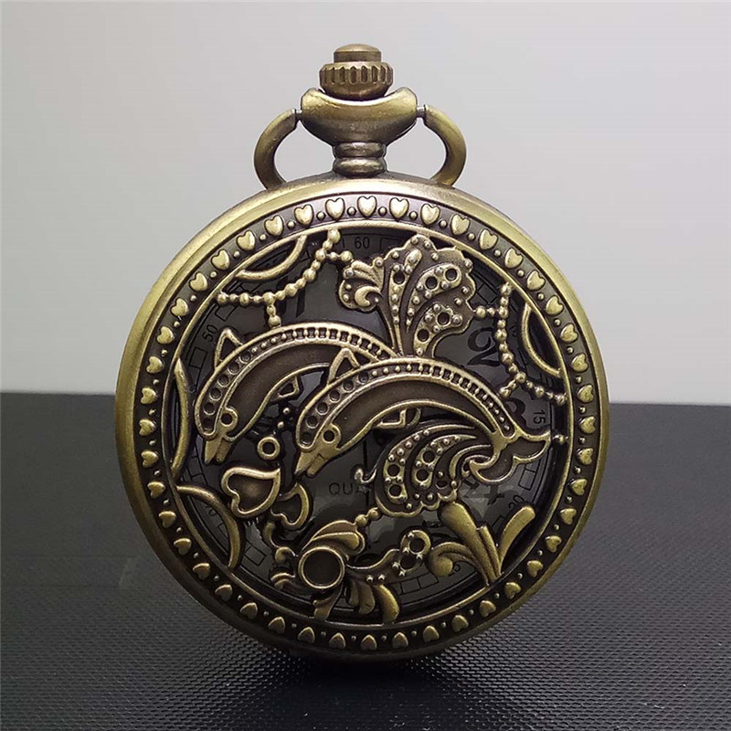 Unisex Vintage Bronze Pocket Watch Quartz Steampunk watches Clock Lover Double Dolphin Pendant Necklace Sweater Chain Men Women vintage antique carving motorcycle steampunk quartz pocket watch retro bronze women men necklace pendant clock with chain toy