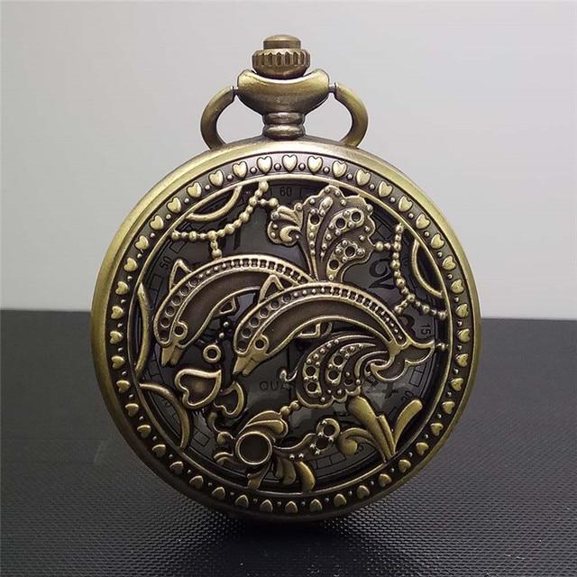 Unisex Vintage Bronze Pocket Watch Quartz Steampunk watches Clock Lover Double D