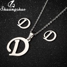 Shuangshuo Necklace Earrings Jewelry Sets For Women Stainless Steel Letter Pendant Necklaces Stud Earrings Bridal Jewelry(China)