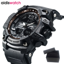 AIDIS Brand 2017 Fashion Black Men Sport Watch LED Military Hiking Multi-function Wristwatch relogio masculino Digital hot clock