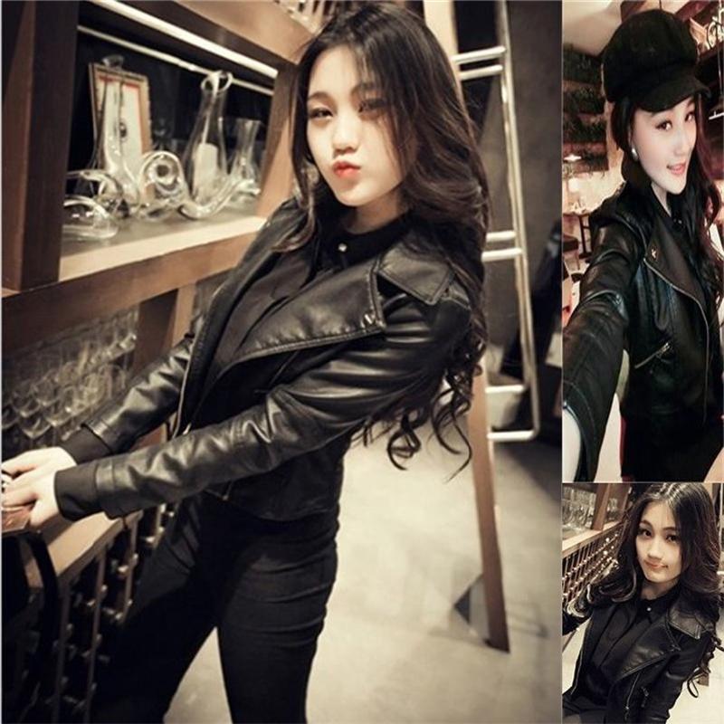 Sexy slim Soft Jacket streetwear body shape jacket club hot Biker Jacket Female 2018 new short Goth moto Faux   Leather   jacket