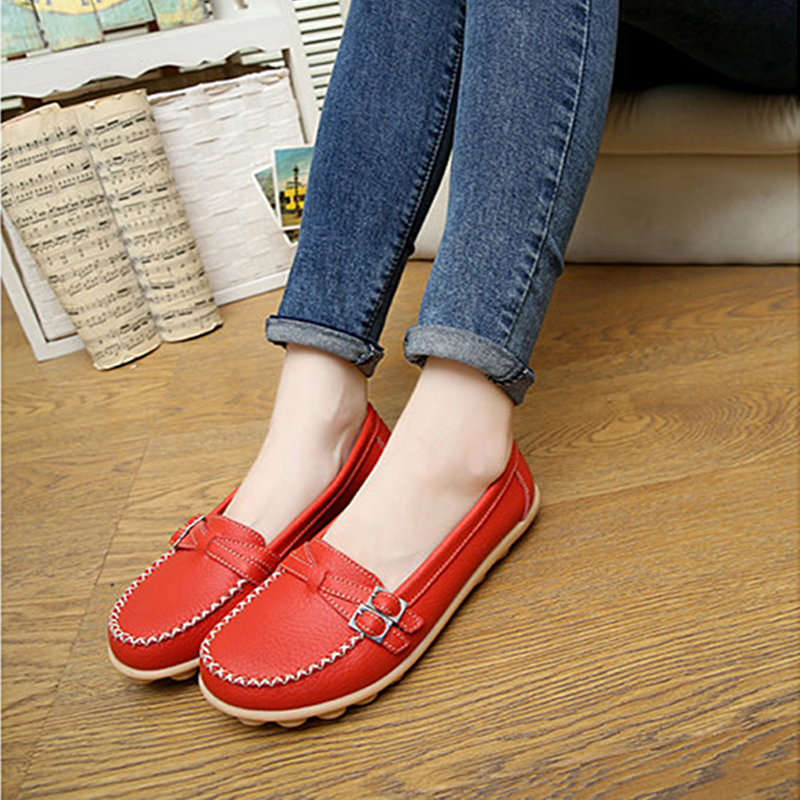 Genuine Leather Women Flats Shoes 2018 Spring Summer Casual Female Flats Women Loafers Slip-On Shallow White Shoes Women's Shoes spring summer flock women flats shoes female round toe casual shoes lady slip on loafers shoes plus size 40 41 42 43 gh8