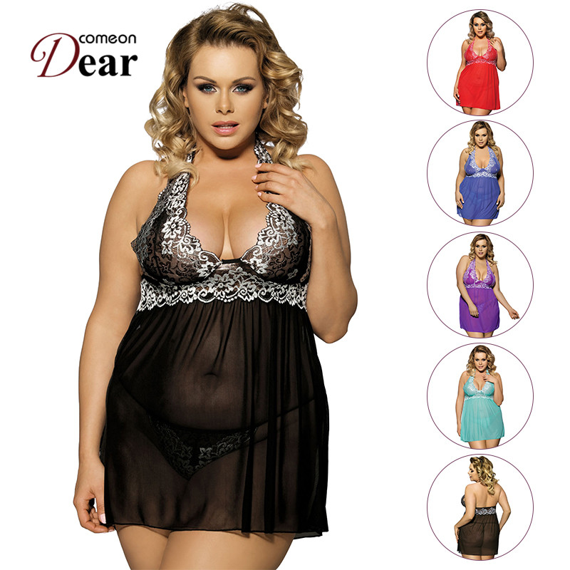 Comeondear R80003 Brand New Women Sex Dessous Lace Halter See Through Sexy Babydoll Unique Plus Size Sexy Lingerie Nuisette Sexy sexy lace splicing halter babydoll for women