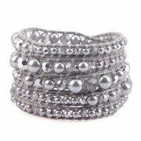 KELITCH Crystal Gray Pearl Mix Beaded 5 Wrap Bracelet Handmade Cuff Bracelet Fashion Jewelry