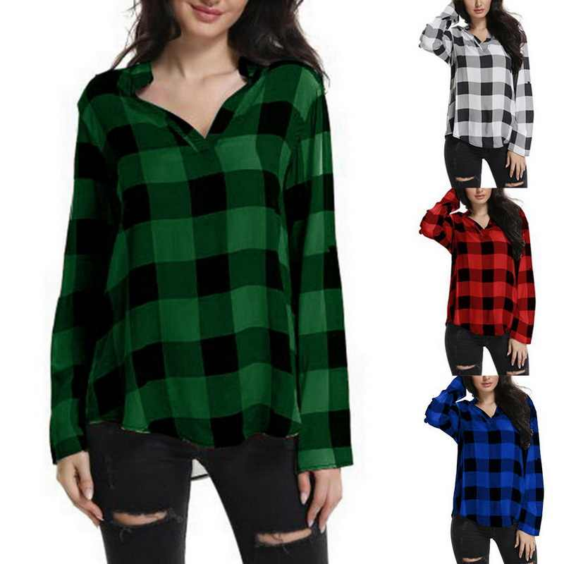6bf4853490e ... Laamei Women Plaid Shirts Spring Long Sleeve Blouses Shirt Office Lady Cotton  Lace up Shirt Tunic