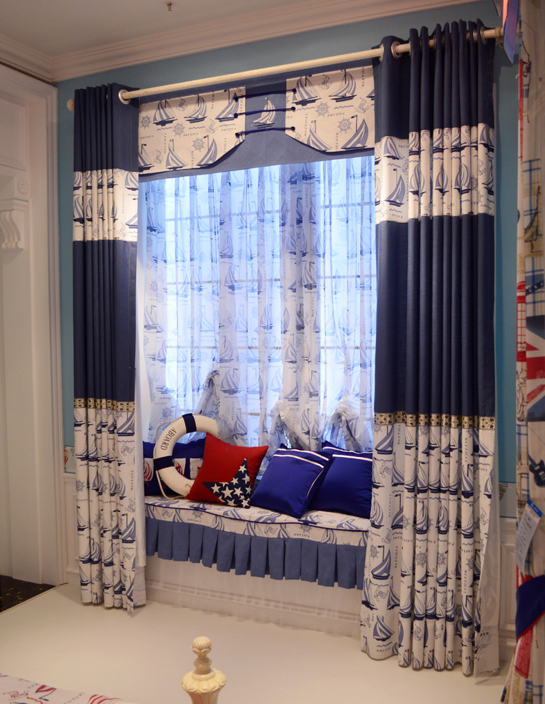 2017 New Contemporary And Contracted Cartoon Boy Children Room Bedroom  Curtains, Blue Sailboat Custom Curtain.