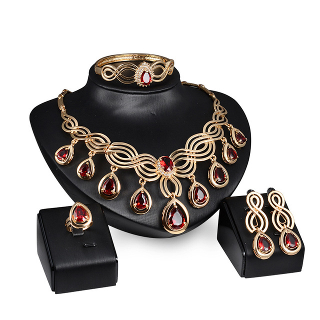FARLENA Jewelry Red Crystal...