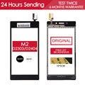 Original tested4.8 polegadas tela sensível ao toque de toque de vidro touchscreen para sony xperia m2 aqua d2403 d2302 d2303 d2305 adesiva livre