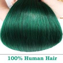 ☼  Ombre 1B Зеленый Бразильский Пучки Плетения Волос 3 Шт. Прямые Наращивание Человеческих Волос