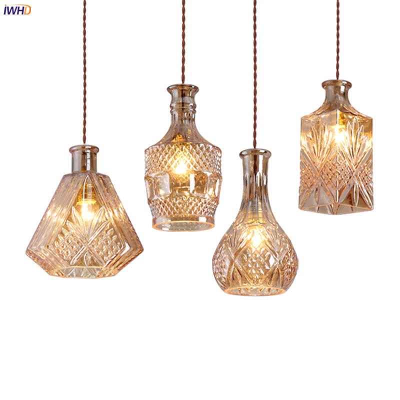 IWHD Glass Bottle LED Pendant Lamp Dinning Living Room Lighting Modern Nordic Hanging Lights Hanglamp Lampara Colgante Lustre