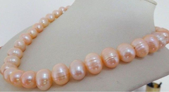 Женщины Подарок слово Любовь женщины Ювелирные Изделия 18 inch элегантный 12-13 мм натуральный розовый пресной воды жемчужное ожерелье