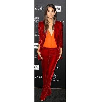 Popular Red Women Evening Pant Suits Velvet Female Business Suit 2 Piece Set Office Work Interview Wear B168