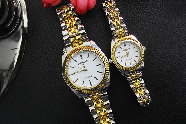 87d35eb250e New Fashion Round ROSRA Dial Decoration Analog Wrist Watch with gold strap  for old man relojes free shipping