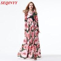 Bohemian Print Chiffon Dresses 2017 Spring Fashion Elegant Beautiful Flowers Long Sleeves Slim Large Swing Women