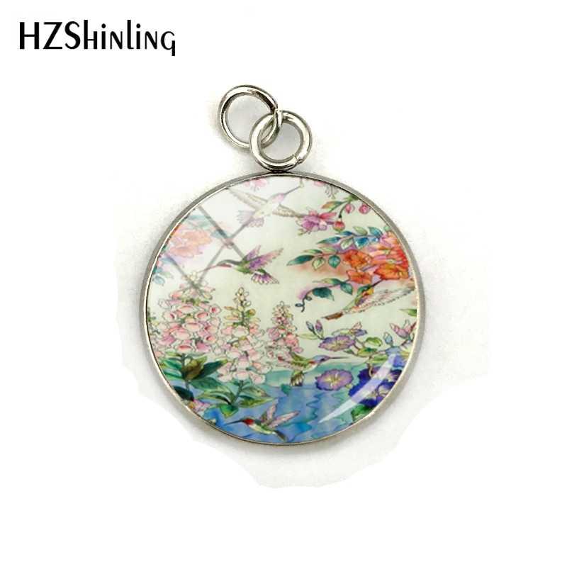 Nuevo pájaro zumbador de moda con flores moradas fotos cristal cúpula encantos colgante mano artesanía Acero inoxidable chapado colgantes joyería